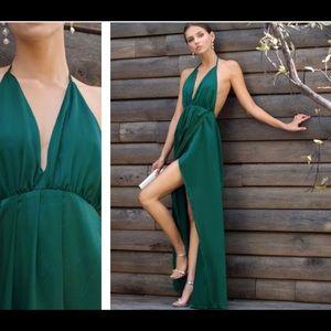 Plunge neck crisscross back slit cami dress